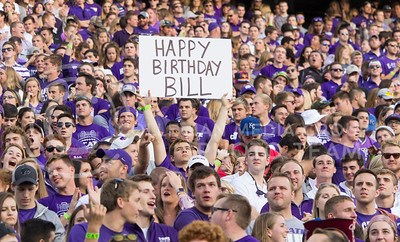 A K-State fan wishes Coach Bill Snyder a happy birthday from the crowd at the game between K-State and Texas Tech in Bill Snyder Family Stadium on Oct. 8, 2016. (Hallie Lucas | The Collegian)