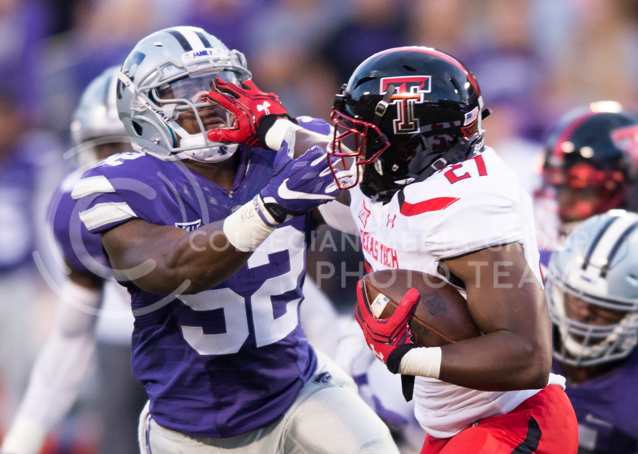 Senior linebacker Charmeachealle Moore goes in to tackle Texas Tech running back Demarcus Felton during the game between K-State and Texas Tech on Oct. 8, 2016, in Bill Snyder Family Stadium. (George Walker | The Collegian)
