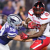 Junior linebacker Trent Tanking goes in for a tackle on Texas Tech wide receiver Keke Coutee during the game between K-State and Texas Tech on Oct. 8, 2016, in Bill Snyder Family Stadium. (George Walker | The Collegian)