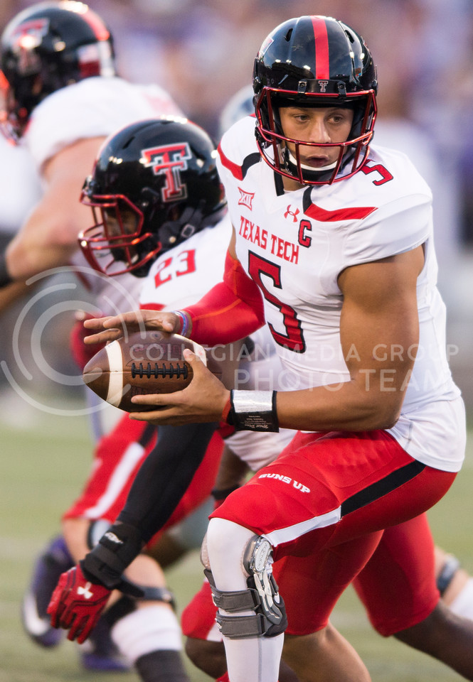 Texas Tech quarterback Patrick Mahomes II looks to pass during the game between K-State and Texas Tech on Oct. 8, 2016, in Bill Snyder Family Stadium. (George Walker | The Collegian)