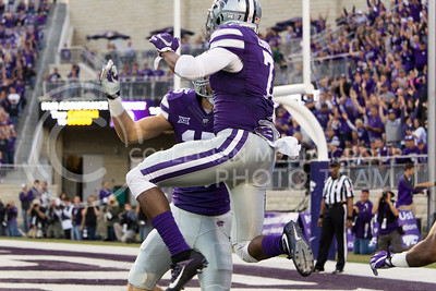 K-State senior defensive back Cedric Dozier celebrates a touchdown following an interception during the game between K-State and Texas Tech in Bill Snyder Family Stadium on Oct. 8, 2016. (Hallie Lucas | The Collegian)