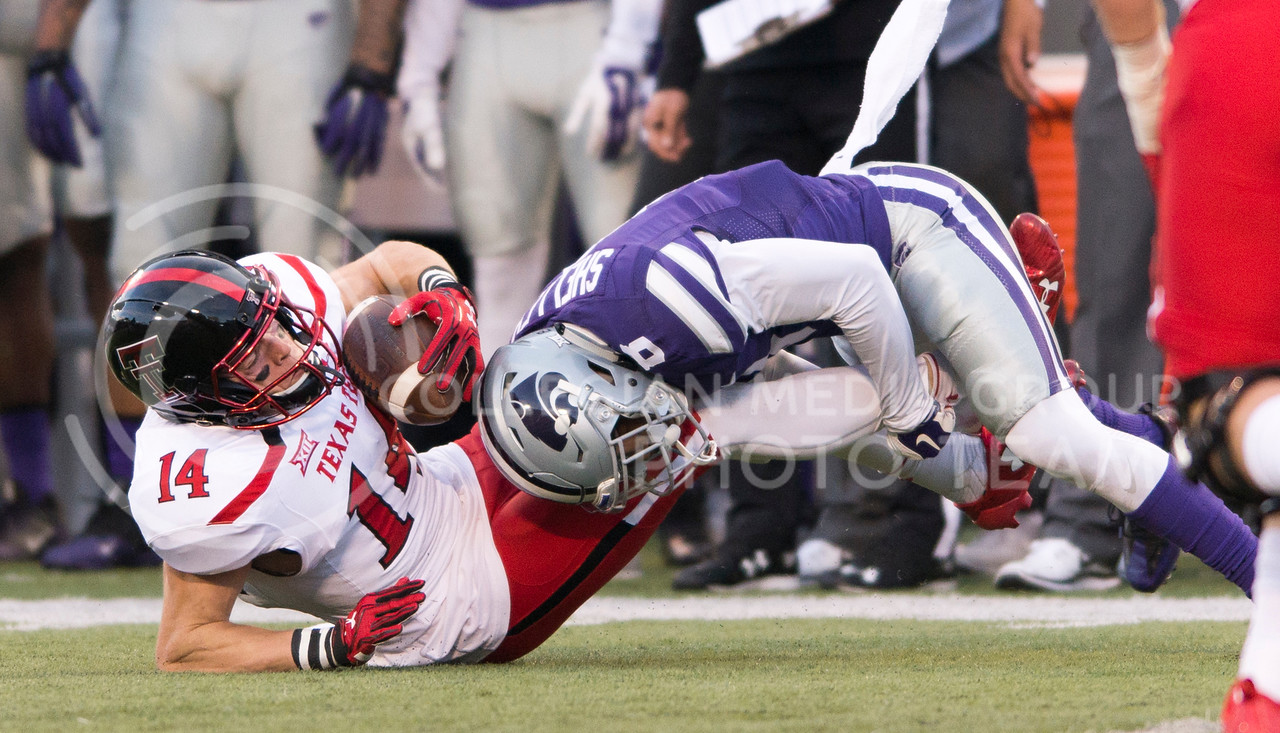 Sophomore defensive back Duke Shelley tackles Texas Tech wide receiver Dylan Cantrell during the game between K-State and Texas Tech on Oct. 8, 2016, in Bill Snyder Family Stadium. (George Walker | The Collegian)