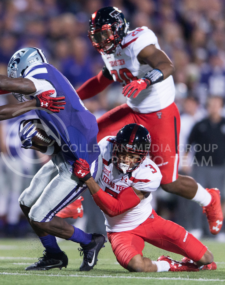 Texas Tech defends during the game between K-State and Texas Tech on Oct. 8, 2016, in Bill Snyder Family Stadium. (George Walker | The Collegian)