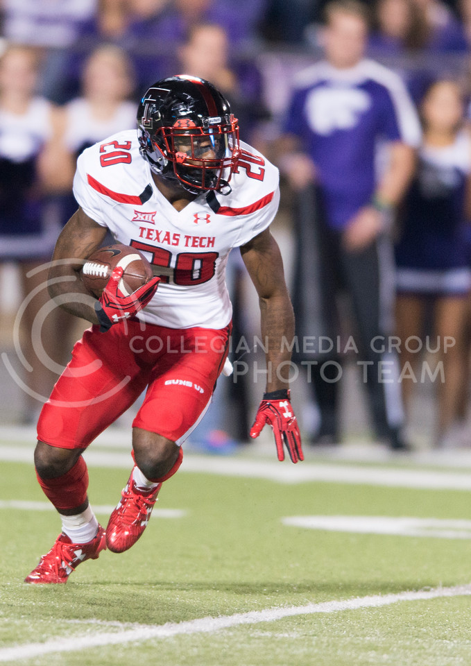 Texas Tech wide receiver Keke Coutee returns the ball during the game between K-State and Texas Tech on Oct. 8, 2016, in Bill Snyder Family Stadium. (George Walker | The Collegian)