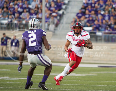 Texas Tech running back Justin Stockton runs the ball during the football game between K-State and Texas Tech on Oct. 8, 2016, in Bill Snyder Family Stadium. (Emily Starkey | The Collegian)