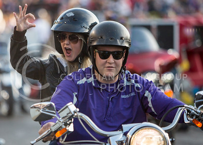 Motorists ride in the stadium as part of Harley Day before the start of the K-State and Texas Tech football game on Oct. 8, 2016, in Bill Snyder Family Stadium. (Emily Starkey | The Collegian)