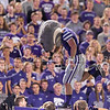 "Willie the Wildcat makes an ""S"" during the game between K-State and Texas Tech on Oct. 8, 2016, in Bill Snyder Family Stadium. (George Walker 