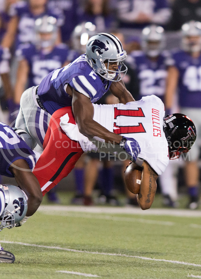 Sophomore defensive back D.J. Reed tackles Texas Tech wide receiver Derrick Willies during the game between K-State and Texas Tech on Oct. 8, 2016, in Bill Snyder Family Stadium. (George Walker | The Collegian)
