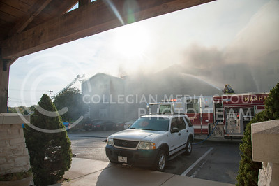 Building G of Founders Hill Apartments burns while Manhattan Fire Department fights to put out the blaze on Oct. 17, 2016. (Evert Nelson | The Collegian)
