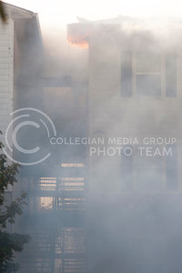 Building G of Founders Hill apartment complex burns on Oct. 17, 2016. (Evert Nelson | The Collegian)