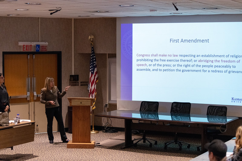 """During """"Free Speech, Diversity and Inclusion"""" on October 9, 2018, Cheryl Strecker, K-State's general counsel, discusses the first amendment and how it relates to diversity and inclusion, one of the main focuses of KSUnite. (Alex Todd 