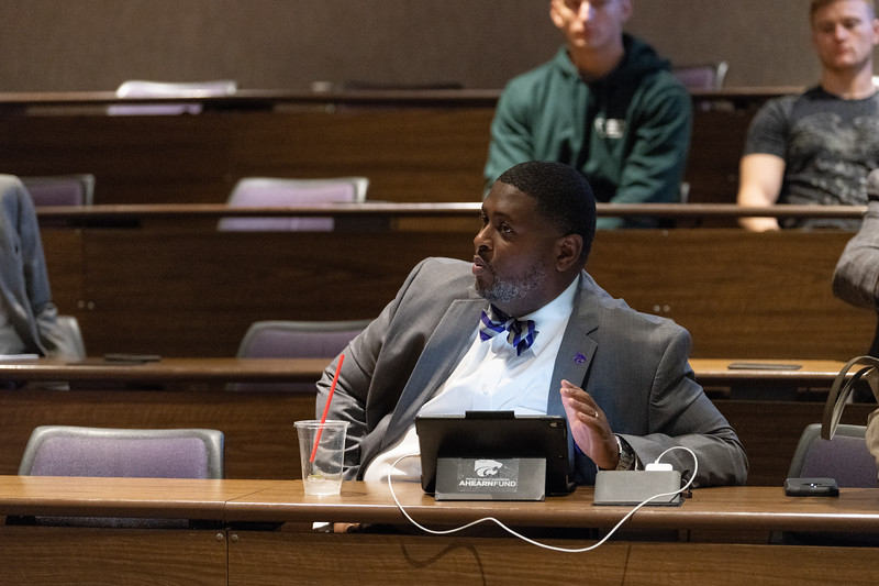 "As part of the ""Free Speech, Diversity and Inclusion"" discussion in the Big 12 Room on October 9, 2018, K-State's Chief Diversity and Inclusion Officer Bryan Samuel discusses some of the issues that we see on campus and what we can do to fix them. (Alex Todd 