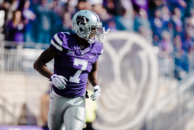 Wide receiver Isaiah Zuber celebrates after he thouht he made a touchdown at the K-State football game against Oklahoma State in Bill Snyder Family Stadium on Oct. 13, 2018. The Wildcats defeated the Cowboys 31-12. (Meg Shearer | Collegian Media Group)