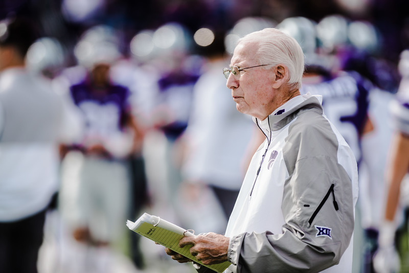 Head coach Bill Snyder watches the coin toss at the start of  the K-State football game against Oklahoma State in Bill Snyder Family Stadium on Oct. 13, 2018. The Wildcats defeated the Cowboys 31-12. (Meg Shearer | Collegian Media Group)