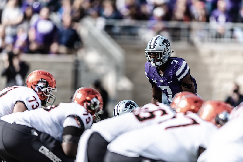 Wildcat senior defensive back Eli Walker waits for the next play to begin. On Saturday, the Kansas State Wildcats faced off against the Oklahoma State Cowboys and won with a final score of 31-12 at Bill Snyder Family Stadium. (Olivia Bergmeier | Collegian Media Group)
