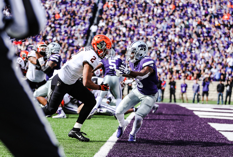 Duke Shelley blocks a Cowboys player during the K-State football game against Oklahoma State in Bill Snyder Family Stadium on Oct. 13, 2018. The Wildcats defeated the Cowboys 31-12. (Emily Lenk | Collegian Media Group)