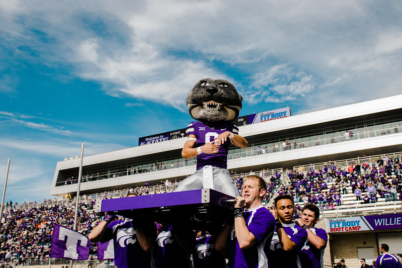 Willie the Wildcat finishes his touch down push ups at the K-State football game against Oklahoma State in Bill Snyder Family Stadium on Oct. 13, 2018. The Wildcats defeated the Cowboys 31-12. (Meg Shearer | Collegian Media Group)