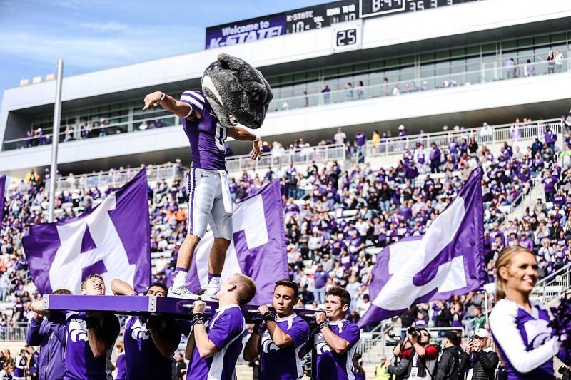 Willie celebrates a touchdown during the football game against Oklahoma State in Bill Snyder Family Stadium on Oct. 13, 2018. The Wildcats defeated the Cowboys 31-12. (Emily Lenk | Collegian Media Group)
