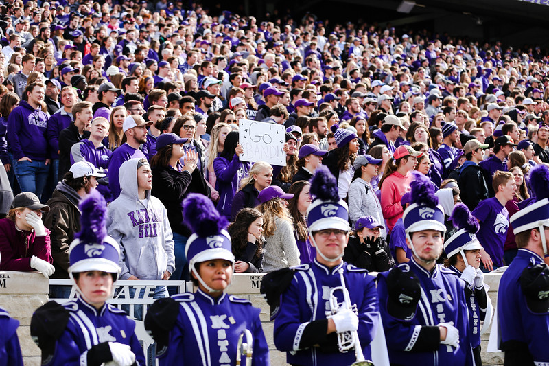 The K-State band and Classy Cats performed during the Halftime show during the football game against Oklahoma State in Bill Snyder Family Stadium on Oct. 13, 2018. The Wildcats defeated the Cowboys 31-12. (Emily Lenk | Collegian Media Group)