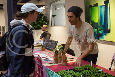 Beth Shirley, junior in accounting, talks to Kenny Artavia, graduate student in horticulture, at the farmers' market in the Student Union on March 29, 2017. (Maddie Domnick | The Collegian)