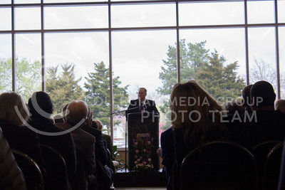 Dr. Wefald opens up the ceromony with a speech at Kramer dining center on Apri 1st, 2017. (Kelly Pham | The Collegian)