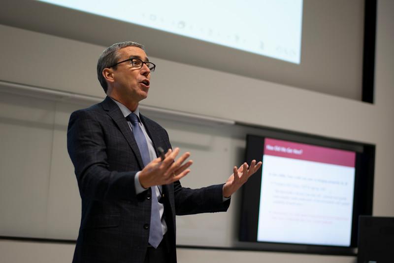 Dr. Gordon Hanson explains the effects of the NAFTA on global economies. (John Chapple | Collegian Media Group)