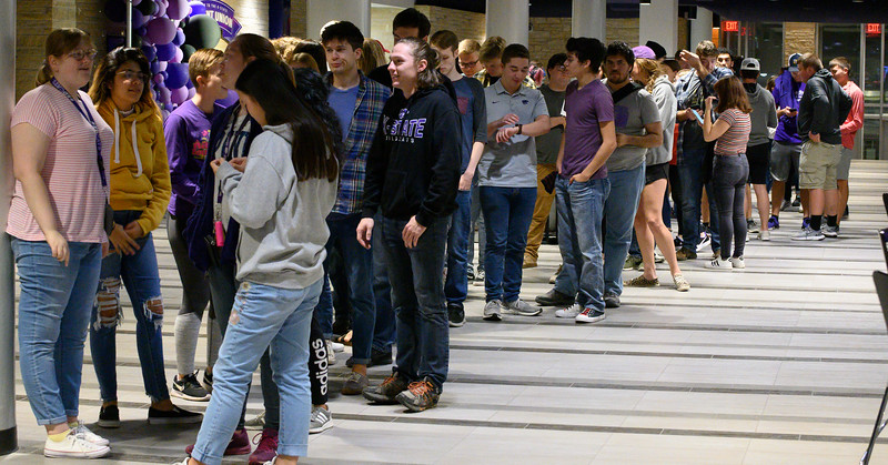 Students lined up for the free Haunted Union event open to the public, located in the Courtyard, Ground Floor of the K-State Student Union. Oct 18, 2019. (Dylan Connell | Collegian Media Group)