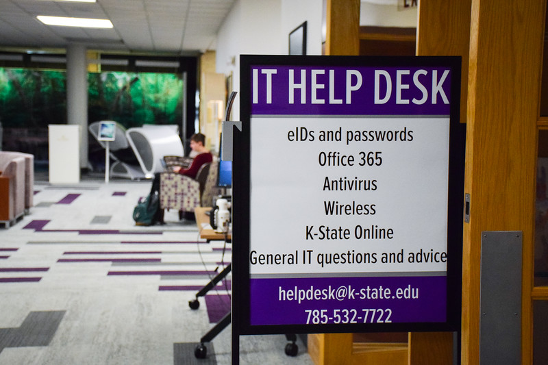 The IT Help Desk, found in the Cat's Pause Lounge in the K-State Student Union, provides services to all students using K-State's online services or Wi-Fi. The desk is open seven days per week to assist students with their technological issues.