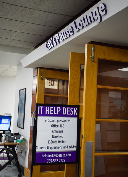 After the Hale Library fire, many Information Technology Services were relocated to the Cat's Pause Lounge in the K-State Student Union. Those services include the: IT Help Desk and Information Technology Services equipment checkout.
