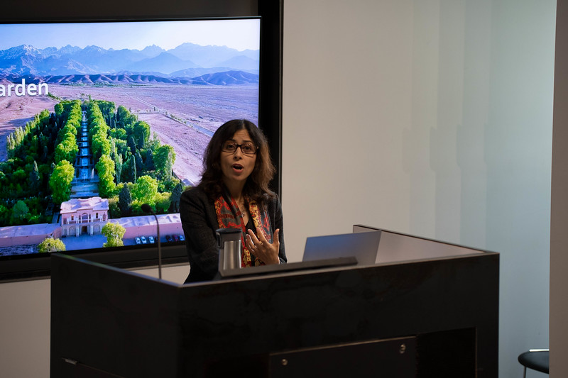 Sara Hadavi, Landscape Arch faculty member on gardens in Persian life. Oct 3, 2019. (Dylan Connell | Collegian Media Group)