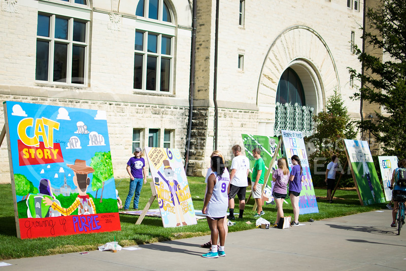 K-State students display their murals in front of Hale library on Oct. 16.<br /> (Meg Shearer | The Collegian)