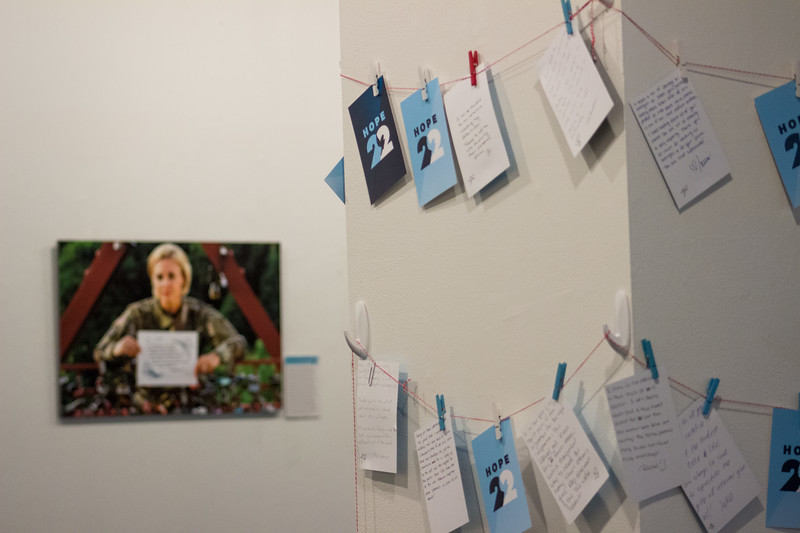 Visitors to the Hope 22 art gallery in the K-State Student Union, which runs from September 4th-24th, have pinned up cards explaining the impact the gallery had on them. The exhibit in the William T. Kemper  Gallery showcases veterans' personal stories in order to raise awareness for our country's veteran suicide epidemic, and to provide hope for veterans and their families.  (Sarah Millard| Collegian Media Group.)