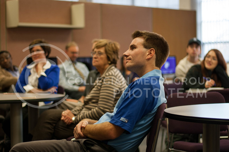 Students and faculty listen to Steve Physioc speak in Kedzie Library. (Brittany Reed | Collegian Media Group)