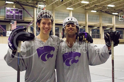 Nick Steiner, sophomore in biology, and Avery Lambden, sophomore in aviation, pose for the camera at practice for the Inline Hockey team at Chester E. Peters Recreation Center on Oct. 4, 2016. (Maddie Domnick | The Collegian)
