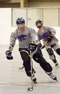 Skyler Kring, freshman in computer science, practices his hockey skills for the Inline Hockey team at Chester E. Peters Recreation Center on Oct. 4, 2016. (Maddie Domnick | The Collegian)