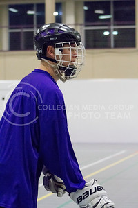 Jake Schulte, junior in architectural engineering, practices his defensive skills for the Inline Hockey team at Chester E. Peters Recreation Center on Oct. 4, 2016. (Maddie Domnick | The Collegian)