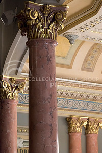 Pink columns made from plaster to look like marble line the walls and balconys of the House of Representative in the Kansas State Capitol. (Photo by Evert Nelson   The Collegian)