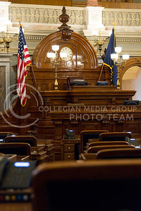 All chairs to the 125 legislators point to the front desk in the House of Representatives in the Kansas State Capitol. (Photo by Evert Nelson   The Collegian)