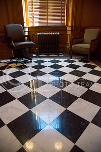 Outside of the main room to the House of Representatives in the Kansas State Capitol are waiting rooms for bathrooms and closets. (Photo by Evert Nelson   The Collegian)