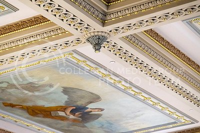 Decrative molding with real gold leaf and painted murals line the ceiling of the House of Representatives in the Kansas State Capitol. (Photo by Evert Nelson   The Collegian)