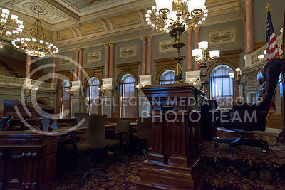 The front of the House of Representatives features a grand desk at the front and seats for the 125 legislators elected every two years. (Photo by Evert Nelson   The Collegian)