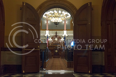 Big wooden doors open up into the House of Representatives in the Kansas State Capitol third floor on June 9, 2016. (Photo by Evert Nelson   The Collegian)