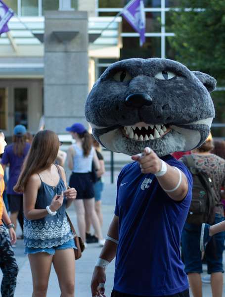 Willie the Wildcat points into the camera at the start of 2018's International Block Party. Beth Bailey head of the Union Programs Council said Willie's presence was requested to connect international students to the campus family. (Rowan Jones | Collegian Media Group)