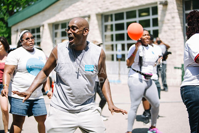 "Steven Massey, Topeka resident, dances to ""Wobble"" by V.I.C. during the Juneteenth celebration in City Park on June 6, 2017. (Emily Starkey 