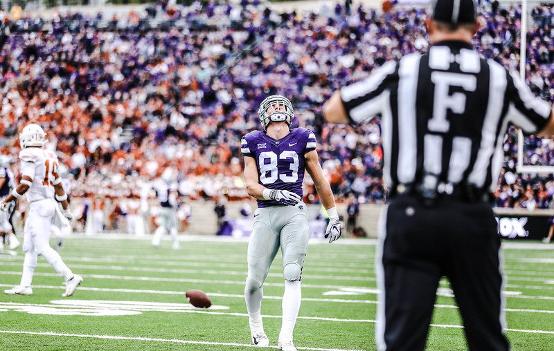 Wide receiver, Dalton Schoen, leans his head back in frustration after a missed catch during the game against Texas in Bill Snyder Family Stadium on Sept. 29, 2018. The Wildcats fell to the Longhorns 19-14. (Emily Lenk | Collegian Media Group)