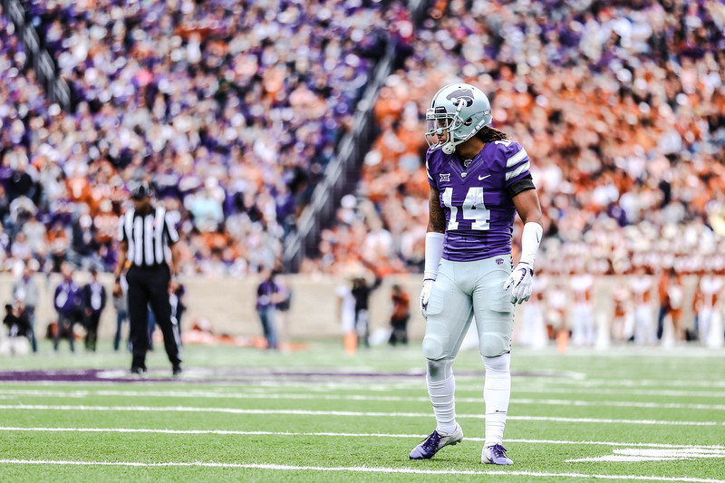 Kevion Mcgee waits for the next play during the game against Texas in Bill Snyder Family Stadium on Sept. 29, 2018. The Wildcats fell to the Longhorns 19-14. (Emily Lenk | Collegian Media Group)