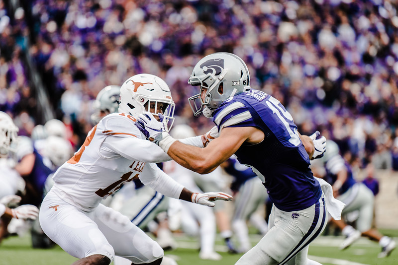 Defensive back Davante Davis covers wide reciever Zach Reuter during the game against Texas in Bill Snyder Family Stadium on Sept. 29, 2018. The Wildcats fell to the Longhorns 19-14. (Meg Shearer | Collegian Media Group)