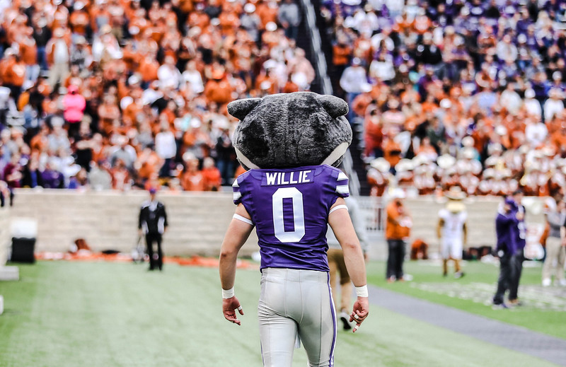 Willie the Wildcat walks down the field during the game against Texas in Bill Snyder Family Stadium on Sept. 29, 2018. The Wildcats fell to the Longhorns 19-14. (Emily Lenk | Collegian Media Group)