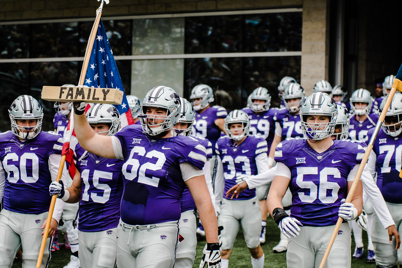 The football players line up to run on to the field before the game against Texas in Bill Snyder Family Stadium on Sept. 29, 2018. The Wildcats fell to the Longhorns 19-14. (Meg Shearer | Collegian Media Group)