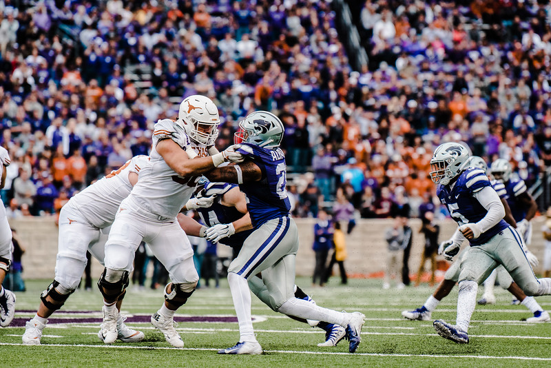 Defensive back Kendall Adams gets blocked on the way to the ball carrier during the game against Texas in Bill Snyder Family Stadium on Sept. 29, 2018. The Wildcats fell to the Longhorns 19-14. (Meg Shearer | Collegian Media Group)